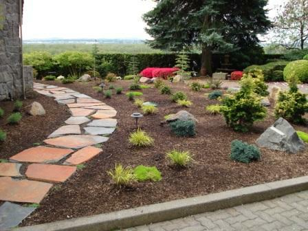 path and plantings