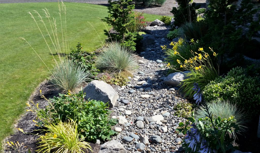 dry creek bed with ornamental plantings as an attractive drainage solutioon