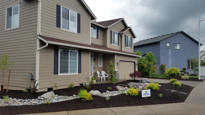 curb appeal front yard makeover lawn loss dry creek bed native plantings Clark County WA