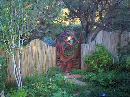 sanctuary garden entrance with decorative gate